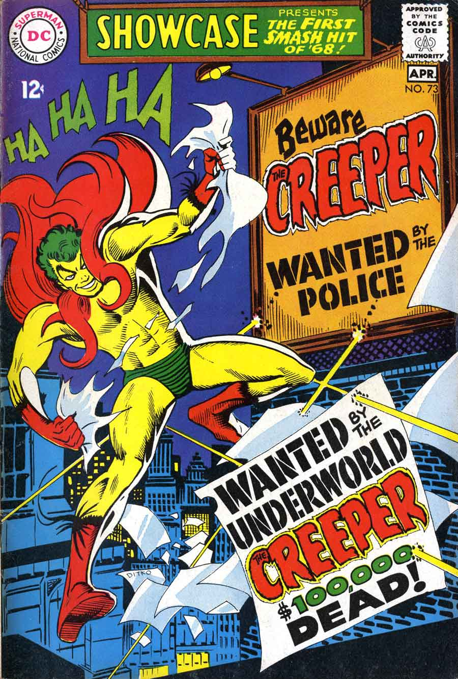 Showcase v1 #73 Beware The Creeper dc comic book cover art by Steve Ditko