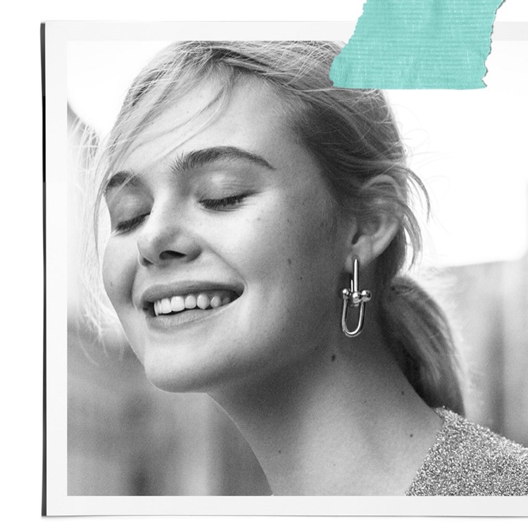Elle Fanning Charms in Black & White for Tiffany & Co. Campaign