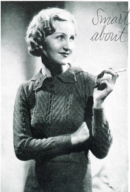 The Vintage Pattern Files: Free 1930s Knitting Pattern - Smart Points About Collars
