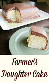 This cake is simple but really good.  The cake has no butter or oil in it, just cream.  Perhaps it was a dairy farmer's daughter who created it! The fudge frosting is a great pour over frosting that tops it off just right.  It's smaller size and tasty combination is sure to work its way into your heart.