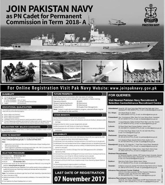 Pak Navy Jobs as PN Cadet - Permanent Commission Batch 2018 Permanent Commission in Pakistan Navy as PN Cadet Batch 2018 Pak Navy Jobs 2017 Apply Online