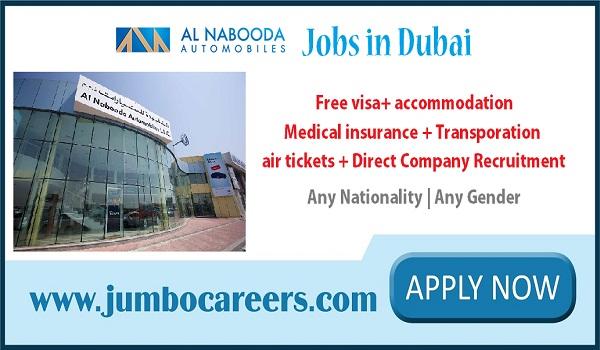 Latest Dubai jobs with salary and benefits, Dubai Al Nabooda jobs for Indians,