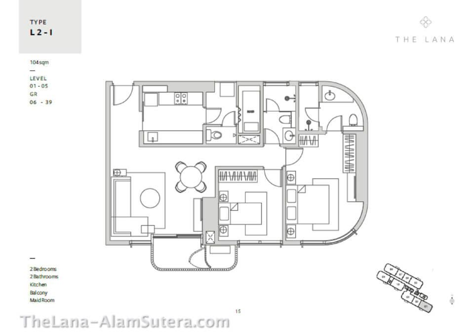 Type L2-I Apartemen The Lana ALam Sutera