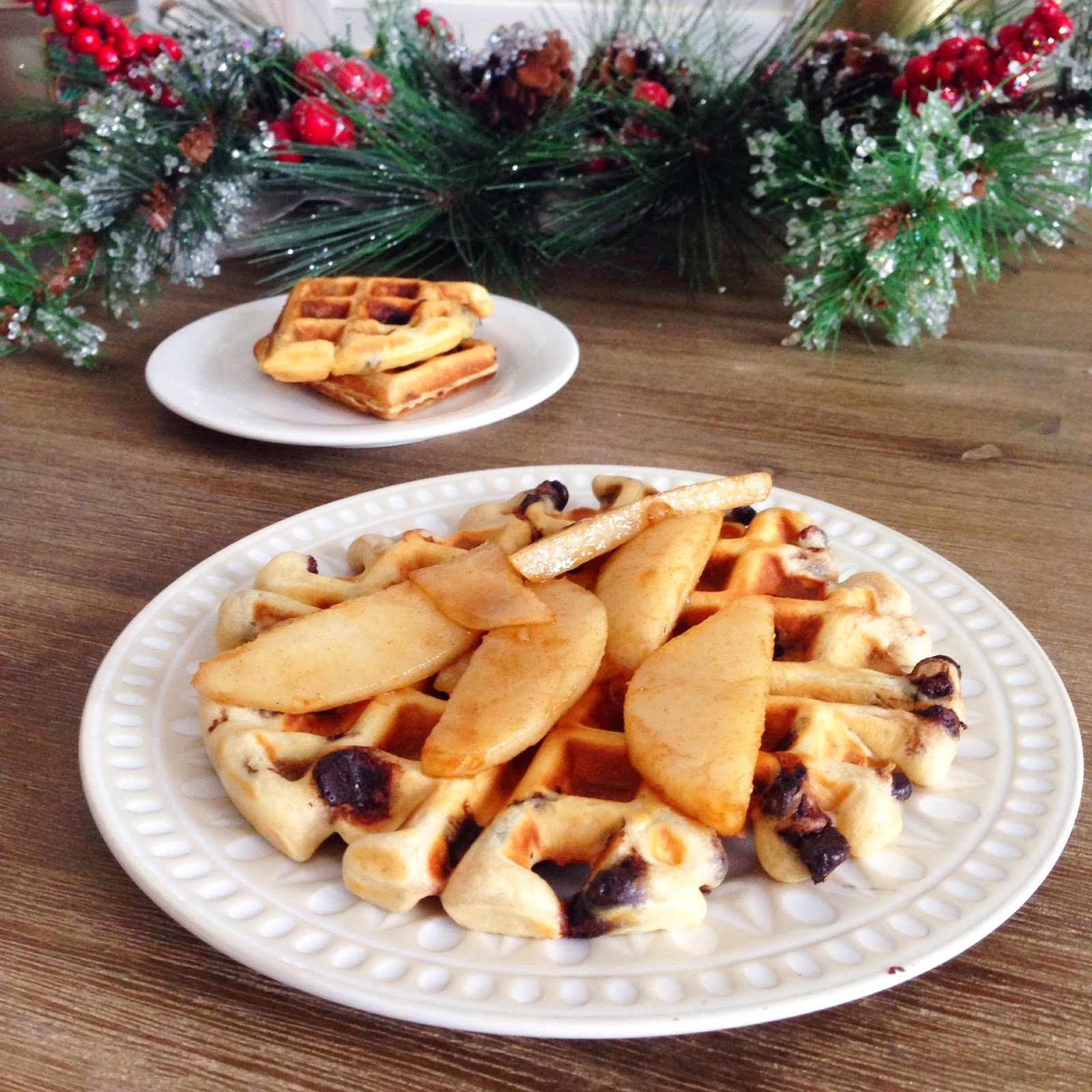 {Recipe} Holiday Breakfast Chocolate Chip Waffle with Caramelized Pears