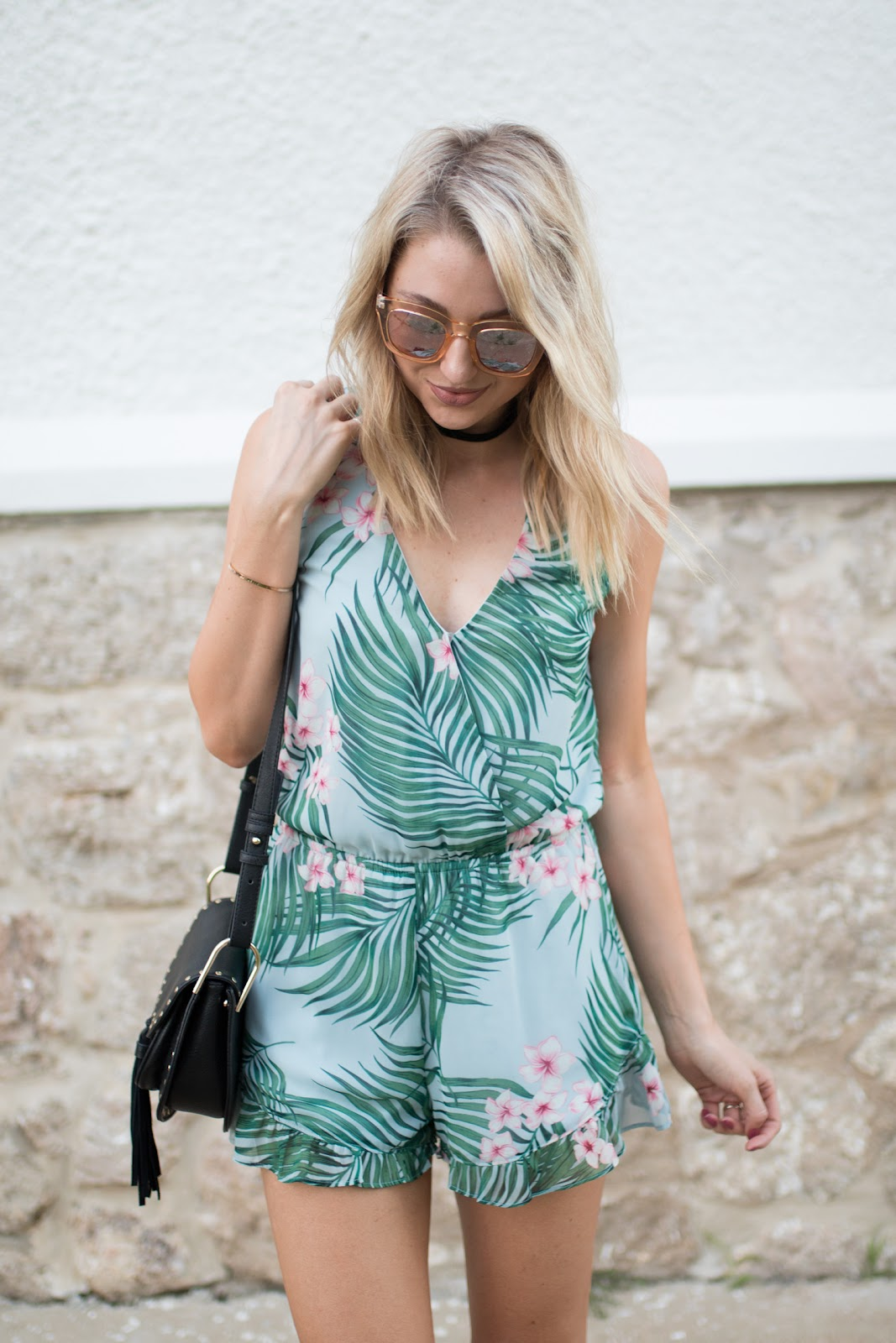 Tropical palm print romper