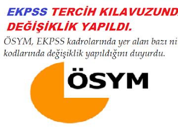 EKPSS Tercih Kılavuzunda değişiklik yapıldı