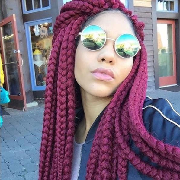 Click here to buy Jet Black Kanekalon Jumbo Braid to create your box braids.