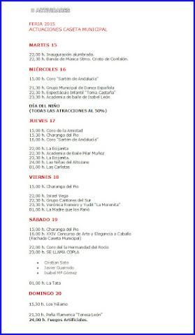 PROGRAMA DE LA FERIA DE ECIJA 2015 - CASETA MUNICIPAL