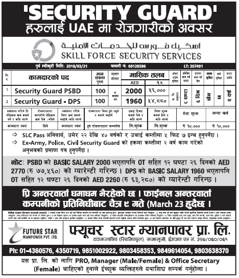 Jobs in UAE for Nepali, Salary Rs 77,560