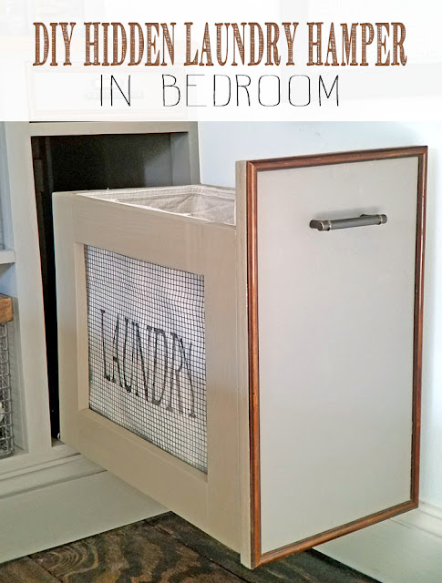 a cabinet is retrofitted to host a hamper with laundry bag