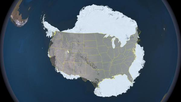 Antarctica and the USA compared in size