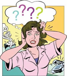 Drawing of confused and agitated woman with question marks coming out of he head