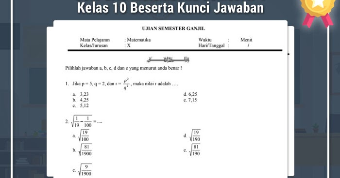 Soal Uas Matematika Semester 1 Kelas 10 Beserta Kunci ...