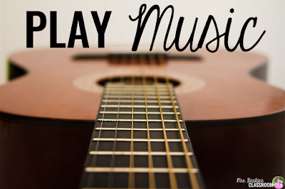 "Photo of guitar with text, ""Play music."""