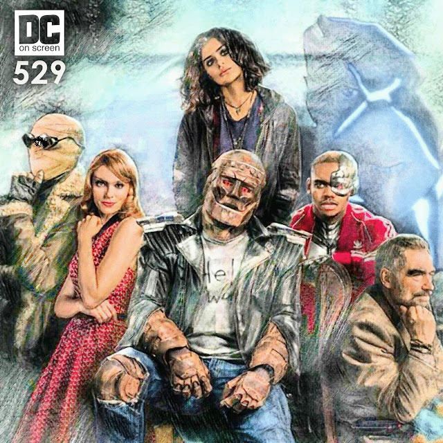 Negative Man, Elasti-Girl, Robot Man, Crazy Jane, The Chief, and Mr. NObody on the show art for DC on SCREEN's Doom Patrol Review
