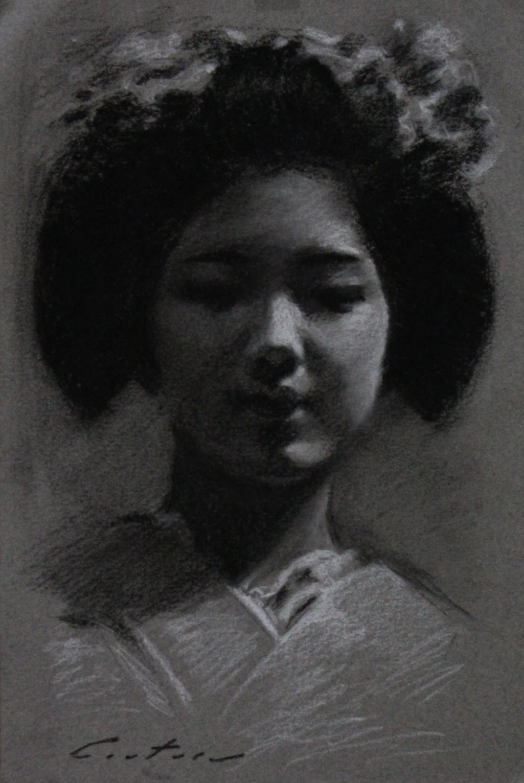 Phil Couture: Art Daily: Recent Charcoal Drawings of Maiko