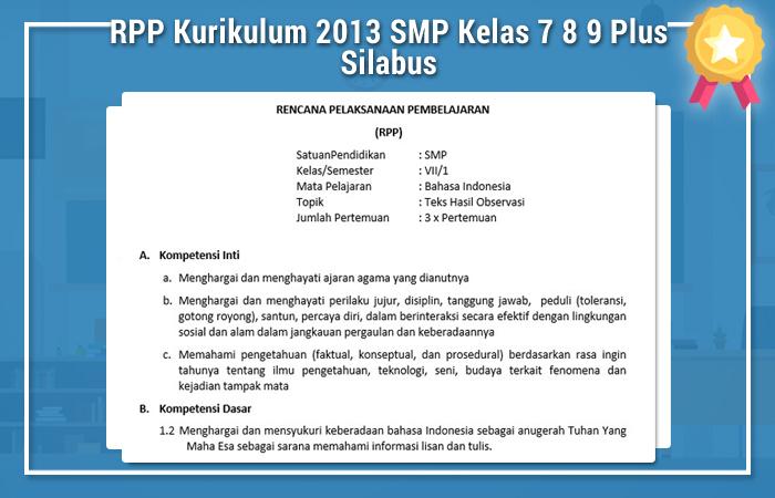 RPP Kurikulum 2013 SMP Kelas 7 8 9 Dan Silabus