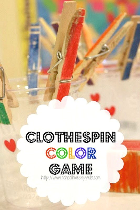 clothespin fine motor skills color game