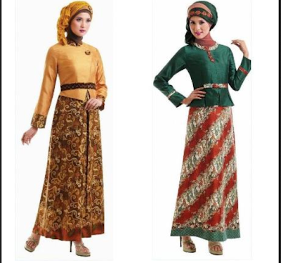 long dress batik kombinasi polos