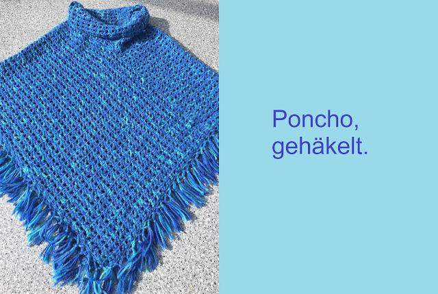 Poncho gehäkelt mit Kragen und Fransen