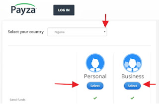 Payza-account-select-country-and-account-type-page