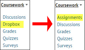 a screenshot of the Coursework drop down menu showing the change from Dropbox to Assignments