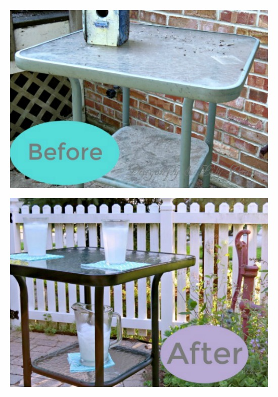 Before and After Pinterest image, Outdoor bar height table,Themed makeover day, White Piket Fence