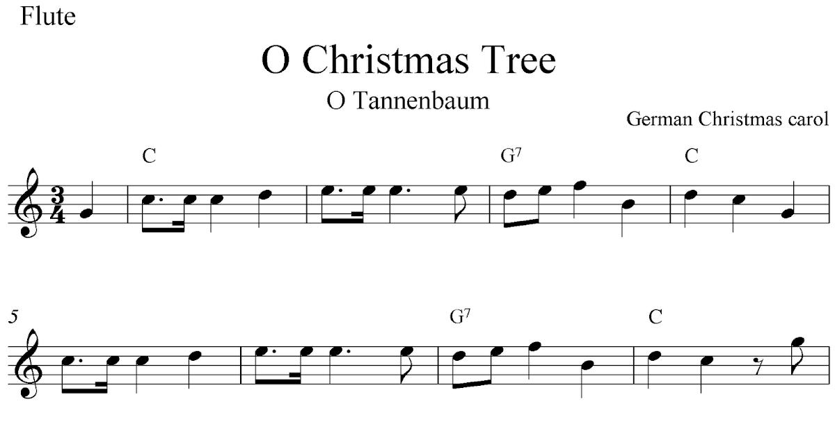 O Christmas Tree (O Tannebaum), Free Christmas Flute Sheet