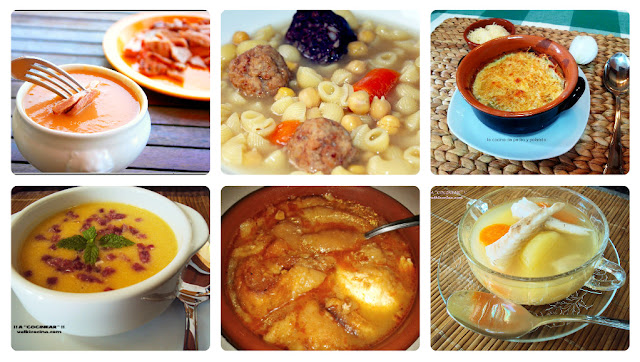 sopas y cremas calientes variadas