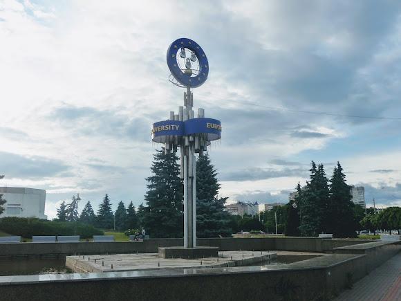 Сумы. Фонтан «Европейский» и памятный знак городам-побратимам