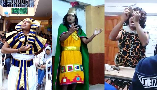 Juan Ebert Quispe Aguilar encontró un método innovador para impartir conocimientos y lo encontró. Se viste del inca Pachakuteq, el faraón Ramsés II y Cristóbal Colón y así dicta lecciones.