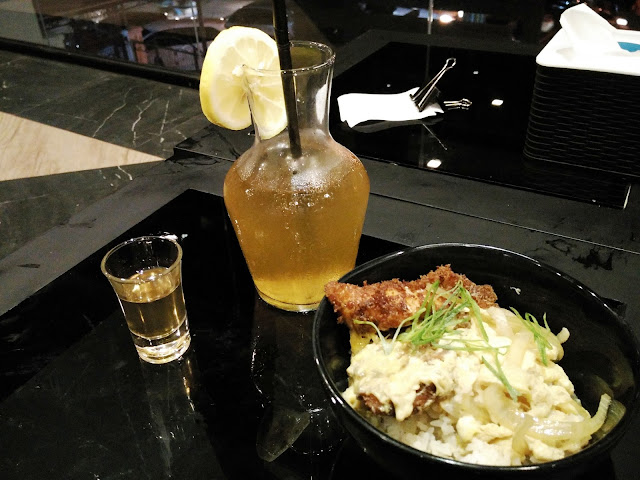 chicken katsu don and lemon tea