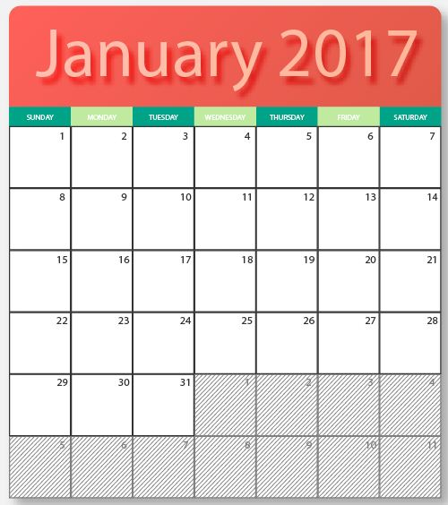 December 2016 January 2017 Kitchen Of The Month: January 2017 Calendar Free Vector Art
