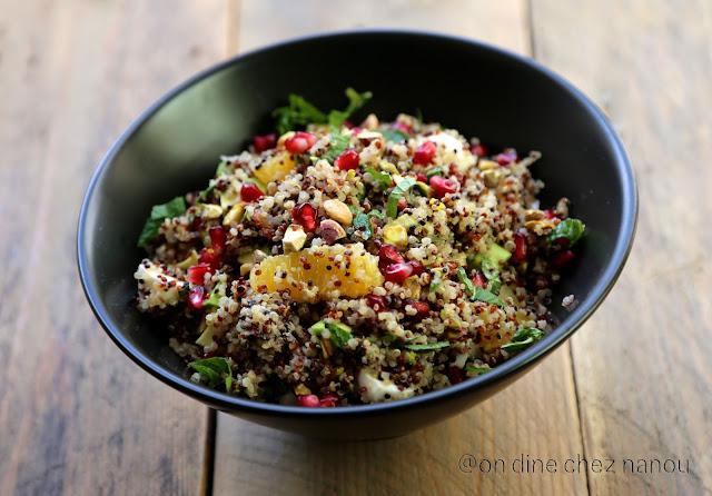 salade complète de quinoa , pique nique , menthe , avocat