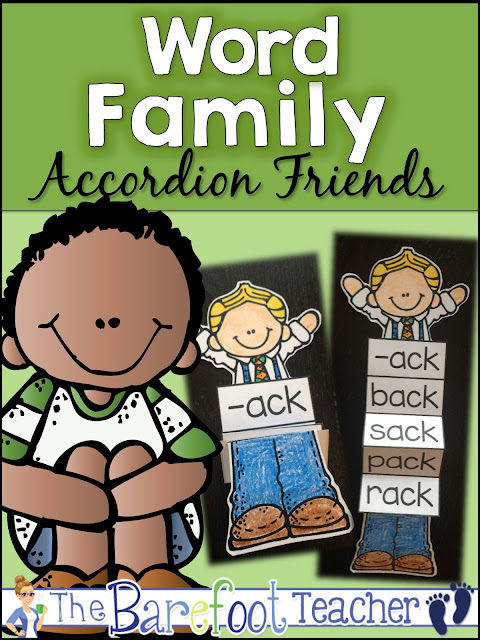 Meet the Word Families Accordion Friends! They will fit right in with the other rhyming or word families activities and ideas you're doing with your Preschool, Kindergarten, or First Grade students. Proven to increase engagement, your students won't be able to take their hands off them once they are made!