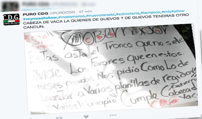 Cartel del Golfo en lucha con Gobernador de Tamaulipas porque no se han cumplido acuerdos