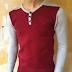 Áo len cài cúc đỏ xám-CT022-M9
