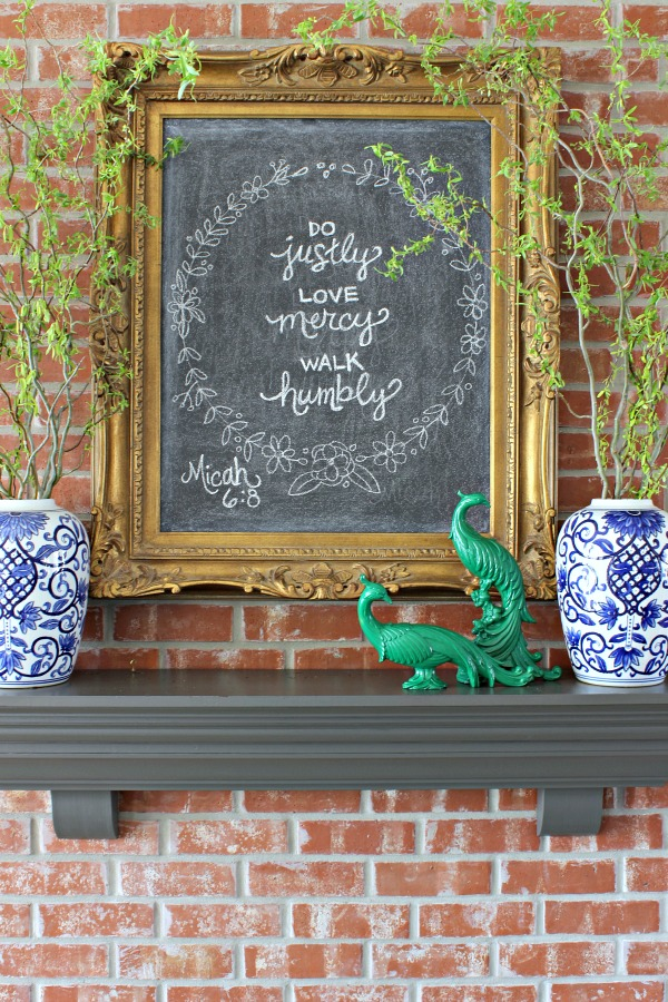 blue and white, spring branches, chalkboard art, scripture verse, Micah 6:8, laurel wreath, urbane bronze mantel