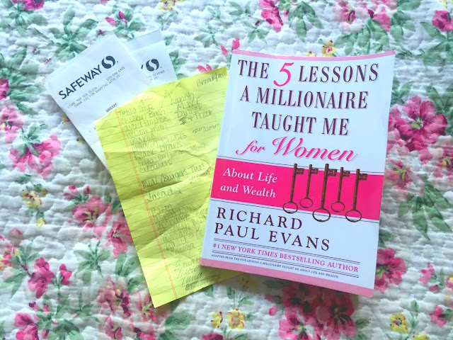 "Two Safeway Receipts, My Gorcery List and Meal Plan for the week and a book called ""The 5 Lessons a Millionaire Taught Me for Women"" by Richard Paul Evans"