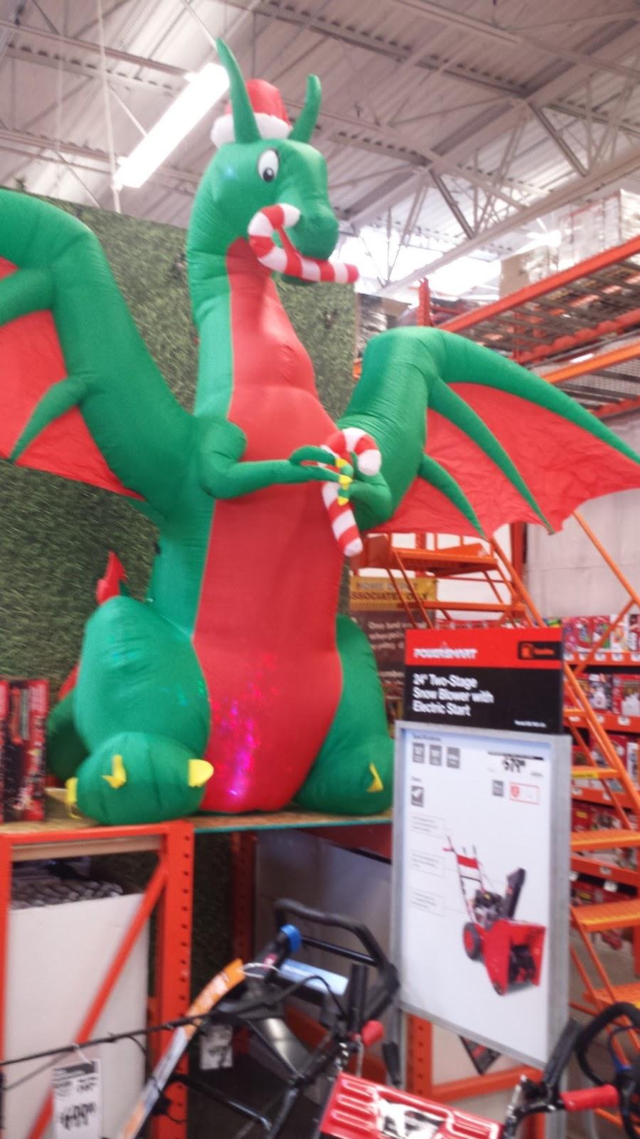 Inflatable Christmas Dragon.Riding On The Christmas Dragon