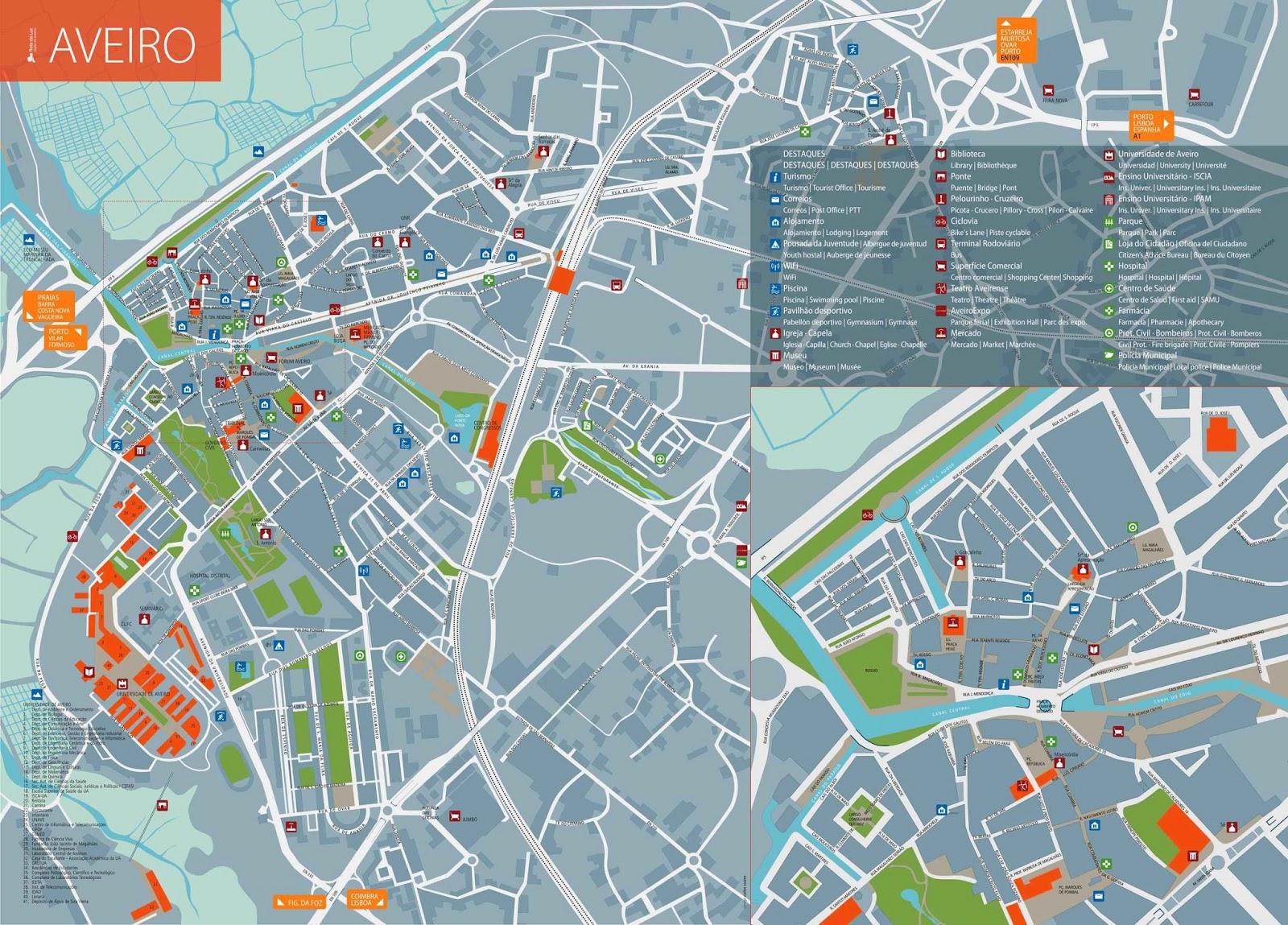 mapa turistico aveiro Mapas de Aveiro   Portugal | MapasBlog mapa turistico aveiro