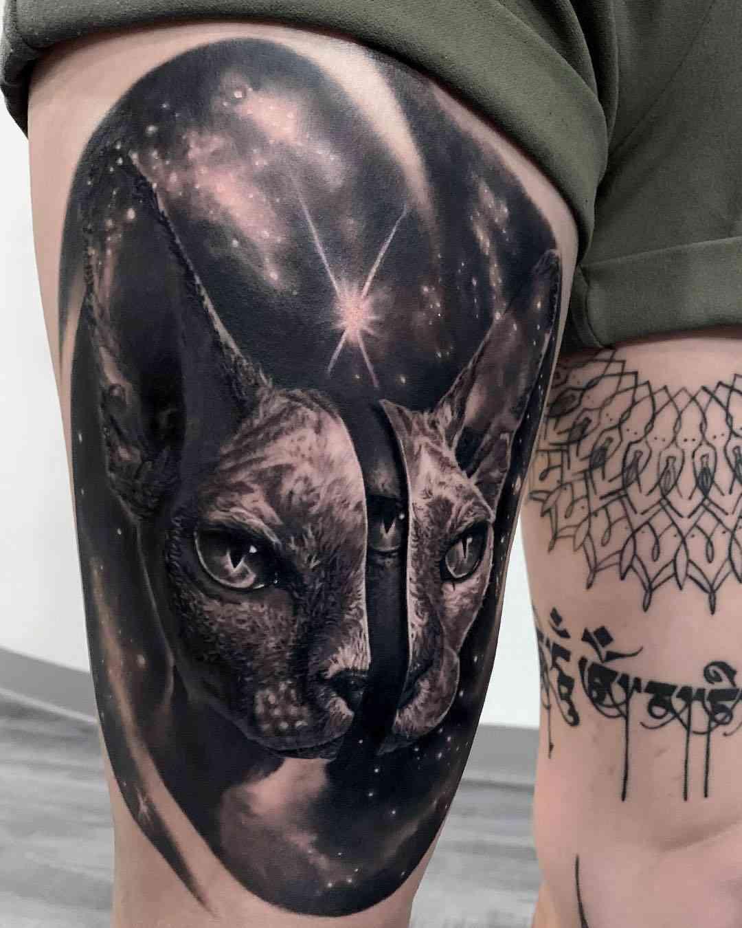 Vemos un tatuaje en blanco y negro de gato cósmico
