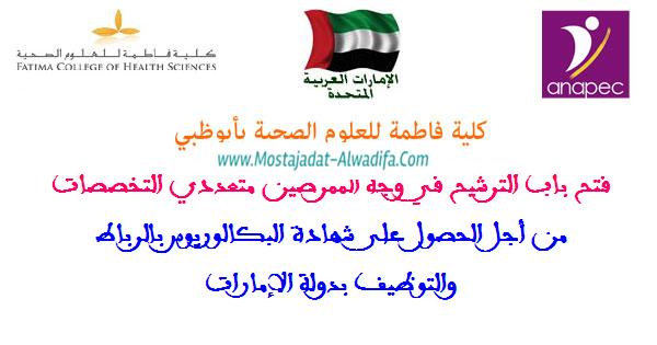 الأنابيك: فتح باب الترشيح في وجه الممرضين متعددي التخصصات من أجل الحصول على شهادة البكالوريوس بالرباط والتوظيف بدولة الإمارات، آخر أجل هو 28 أبريل 2017