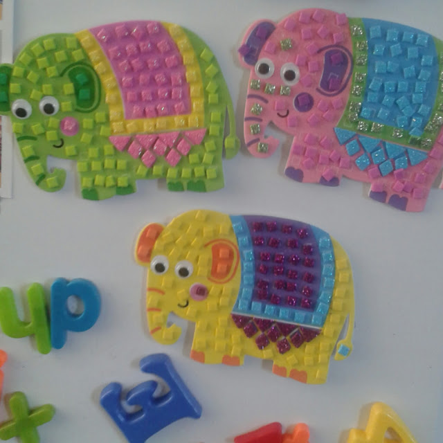 Baker Ross summer holiday crafts, elephant mosaics