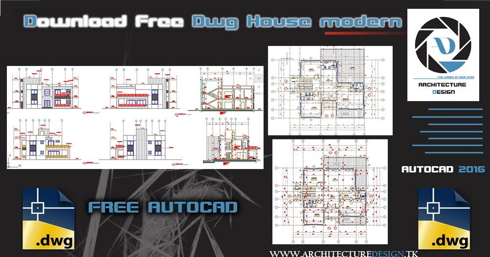 Free Dwg Modern House Design   Architecture Design | Sketchup, Dwg,  Tutorials