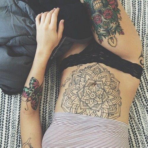 Women Stomach Tattoo Designs