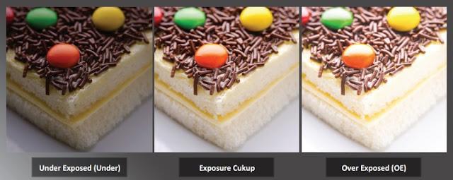 Pengaturan Exposure dapat menghasikan gambar yang berbeda - beda, diantaranya adalah Under Exposed, Exposure cukup dan Over Exposure