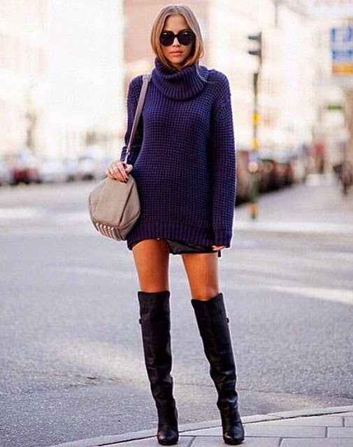 Ulična moda: kako cure u Zagrebu nose čizme preko koljena. Winter chic boots style: how to wear over the knee boots - street fashion inspirations, Kenza Zouiten
