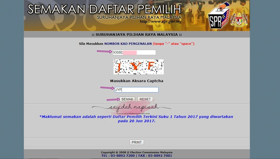 Semakan Online Daftar Pemilih SPR & Cara Tukar Kawasan Mengundi