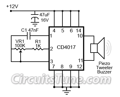 Ultrasonic Mosquito Repeller Circuit Diagram by CD4017